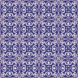 Naadloze donkerblauwe patroonazulejo Royalty-vrije Stock Foto
