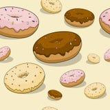Naadloze doughnutachtergrond Stock Foto