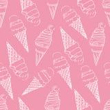 Naadloze druk van roomijs in een wafelkop op een roze achtergrond stock foto
