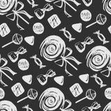 Naadloze druk van suikergoed en lollys op een grijze achtergrond royalty-vrije illustratie