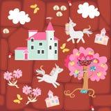 Naadloze druk voor stof of behang voor kinderen Lapwerkachtergrond met kasteel, eenhoorns, vlinders, appelboom en wolken vector illustratie