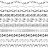 Naadloze Elementen twee van de Grens en van het Frame van de Krabbel Royalty-vrije Stock Afbeeldingen