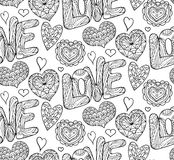 Naadloze feestelijke textuur met krabbelharten en liefde vector illustratie