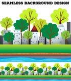 Naadloze gebouwen en bomen langs de rivier royalty-vrije illustratie
