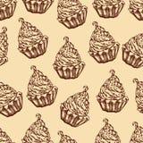 Naadloze gekleurde achtergrond met koffiecake Stock Fotografie