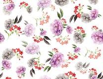 Naadloze gekleurde bloemen voor textiel; Retro stijl bloemenregeling, uitstekende stijl met witte achtergrond royalty-vrije illustratie