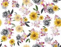 Naadloze gekleurde bloemen voor textiel; Retro stijl bloemenregeling, uitstekende stijl met witte achtergrond vector illustratie