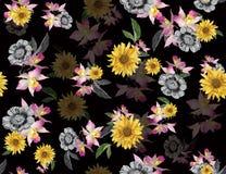 Naadloze gekleurde bloemen voor textiel; Retro stijl bloemenregeling, uitstekende stijl met zwarte achtergrond vector illustratie