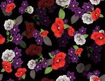 Naadloze gekleurde bloemen voor textiel; Retro stijl bloemenregeling, uitstekende stijl met zwarte achtergrond stock illustratie