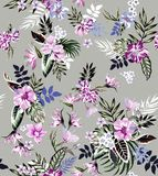 Naadloze gekleurde tropische bloemen voor textiel; Retro Hawaiiaanse stijl bloemenregeling, uitstekende stijl met heldere achterg stock illustratie