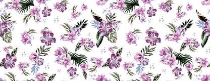 Naadloze gekleurde tropische bloemen voor textiel; Retro Hawaiiaanse stijl bloemenregeling, uitstekende stijl met witte achtergro stock illustratie