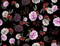 Naadloze gekleurde tropische bloemen voor textiel; Retro Hawaiiaanse stijl bloemenregeling, uitstekende stijl met zwarte achtergr vector illustratie