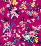 Naadloze gekleurde tropische bloemen voor textiel; Retro Hawaiiaanse stijl bloemenregeling, uitstekende stijl met zwarte roze ach royalty-vrije illustratie