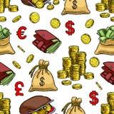 Naadloze geldachtergrond royalty-vrije illustratie