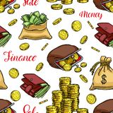 Naadloze geldachtergrond vector illustratie