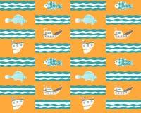 Naadloze gele achtergrond met schepen, vissen en golven stock illustratie