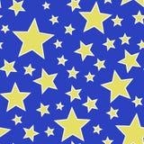 Naadloze Gele Sterren op Blauwe Achtergrondillustratievector Royalty-vrije Stock Fotografie