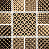 Naadloze geometrische geplaatste patronen. Stock Afbeeldingen