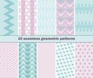 10 naadloze geometrische patronen in roze en blauwe kleuren Royalty-vrije Stock Afbeeldingen