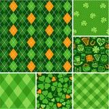 Naadloze geplaatste achtergronden - plakboekdocument St Patricks Dag Royalty-vrije Stock Foto