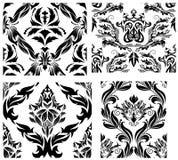 Naadloze geplaatste damastpatronen Stock Afbeelding