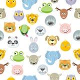Naadloze Geplaatste Patroon Dierlijke Gezichten Beeldverhaalmaskers stock illustratie