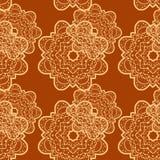 Naadloze geschetste mandalabloem zoals achtergrond Stock Foto's