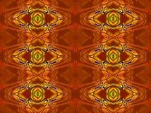 Naadloze gescrolde geeloranje roodbruin van het diamantpatroon Stock Fotografie