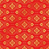 Naadloze Gouden Chinese Achtergrondkromme Dwars Ovale Bloem Royalty-vrije Stock Afbeeldingen