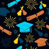 Naadloze graduatiesachtergrond van graduatiekappen, klokken en diploma's Gediplomeerd patroon De achtergrond van de viering royalty-vrije illustratie