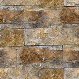 Naadloze graniet bruine decoratieve bakstenen muur Stock Fotografie
