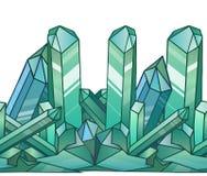Naadloze grens met beeldverhaal blauwe kristallen Stock Foto's