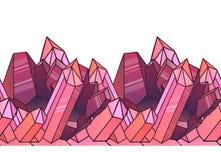 Naadloze grens met beeldverhaal roze kristallen Royalty-vrije Stock Foto's