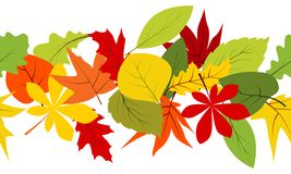 Naadloze grens met de herfstbladeren Stock Afbeeldingen