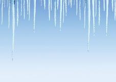 Naadloze grens met ijskegels Stock Fotografie