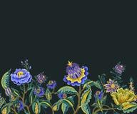 Naadloze grens met Indische etnische ornamentelementen Volksbloemen en bladeren voor druk of borduurwerk Vector illustratie royalty-vrije illustratie