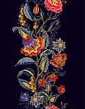 Naadloze grens met Indische etnische ornamentelementen Volksbloemen en bladeren voor druk of borduurwerk Vector illustratie vector illustratie