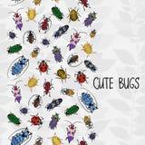 Naadloze grens met kleurrijke insecten Stock Afbeelding