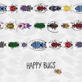 Naadloze grens met kleurrijke insecten Royalty-vrije Stock Foto's