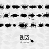 Naadloze grens met silhouet van insecten Stock Afbeelding