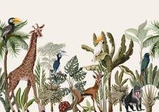 Naadloze grens met tropische boom zoals palm, banaan en wildernisdieren Vector stock illustratie
