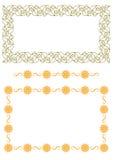 Naadloze grens patroon-zon, bladeren Stock Afbeeldingen