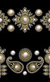 Naadloze grens van textiel geborduurde flarden met lovertjes, parels en parels Vector illustratie royalty-vrije illustratie