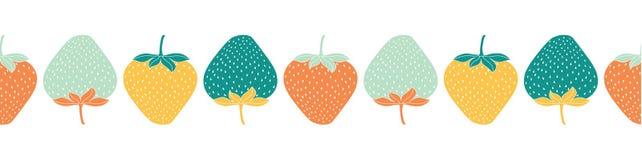 Naadloze grens van veelkleurige aardbeien Vector illustratie vector illustratie