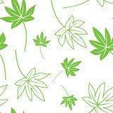 Naadloze groene en witte bladerenachtergrond Stock Afbeelding