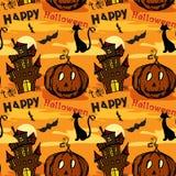 Naadloze Halloween-achtergrond met Oud geruïneerd kasteel, pompoenca Stock Afbeeldingen