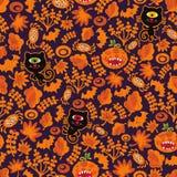 Naadloze Halloween-textuur met zwarte kat. Royalty-vrije Stock Afbeeldingen