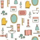 Naadloze hand getrokken badkamersachtergrond Stock Foto's
