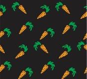 Naadloze heldere achtergrond Oranje wortelen op een zwarte achtergrond Stock Fotografie