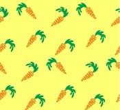 Naadloze heldere achtergrond Oranje wortelen op gele achtergrond Royalty-vrije Stock Fotografie